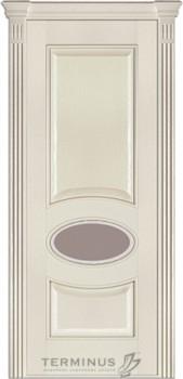 Модель-55 ПО Ясень Crema, остекленная (02), стекло сатин бронза № 27